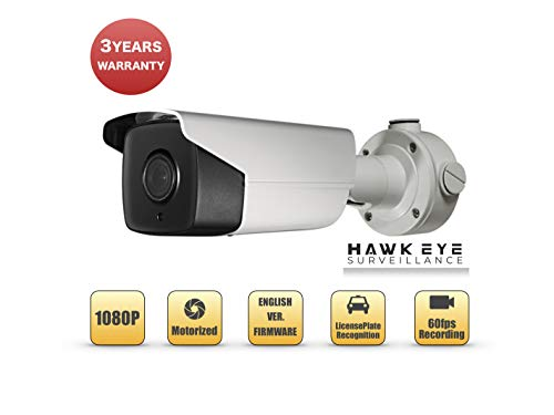 2MP License Plate Recognition Camera - Smart IP PoE Motorized VF 2.8-12mm Lens Bullet for License Plate Capture, Exterior Compatible with Hikvision DS-2CD4A26FWD-IZS