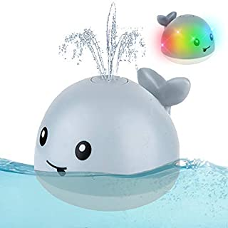 MIAOLAI Baby Bath Toys, Whale Automatic Spray Water Bath Toy with LED Light, Induction Sprinkler Bathtub Shower Toys for Toddlers Kids Boys Girls, Pool Bathroom Toy for Baby (Grey)