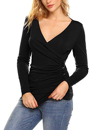 SummerRio Women Cross-Front V Neck Pullover T-Shirt Blouse Top Black, (Stretch Wrap Blouse)