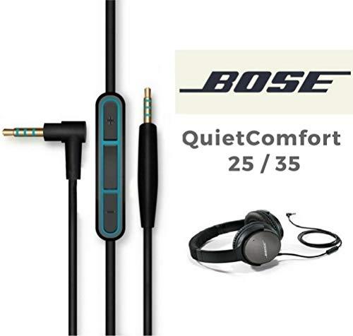 Vervangende audiokabel voor koptelefoons Bose QuietComfort QC25 QC35 met ruisonderdrukking, microfoon en volumeregelaar