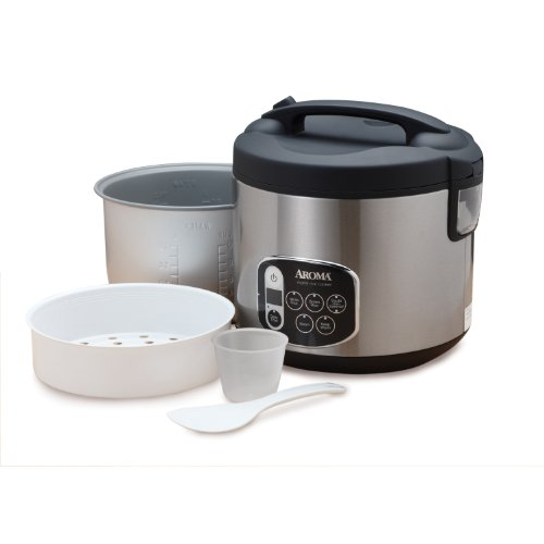 Aroma Housewares 20 Cup Cooked 10 Cup Uncooked Digital Rice Cooker Food Steamer Stainless