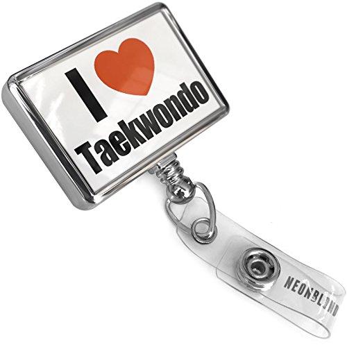 Retractable ID Badge Reel I Love Taekwondo with Bulldog Belt Clip On Holder Neonblond