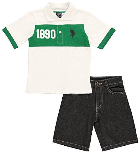 U.S. Polo Assn. Big Boys' Chest Stripe Jersey Polo and Denim Short Set, Kelly Green, 8