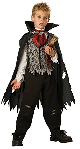 Boys Vampire Costumes (InCharacter Costumes, LLC Boys 8-20 Vampire B. Slayed Cape Set, Black/White, Medium)