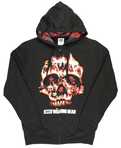 The Walking Dead Flaming Zombie Skull Graphic Zipper Hoodie - Medium