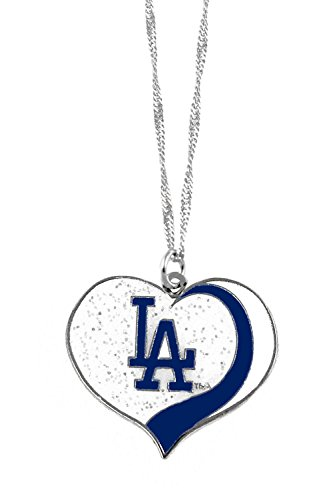 aminco Los Angeles Dodgers MLB Sports Team Logo Charm Gift Glitter Heart Necklace ()