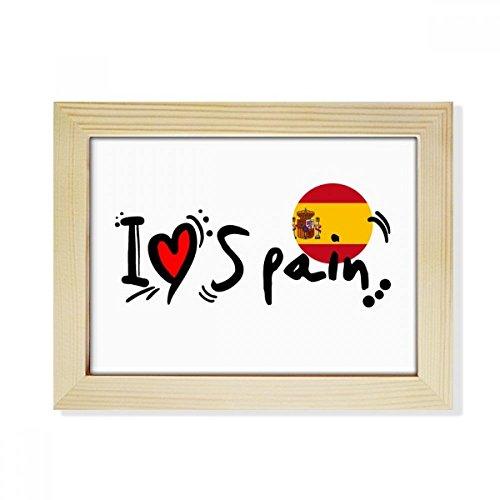 DIYthinker I Love Spain Word Flag Love Heart Illustration Desktop Wooden Photo Frame Picture Art Painting 6x8 inch by DIYthinker