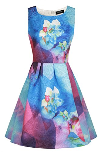 Cocktail Floreale Donne Maniche Acevog Party Casuale Delle Estate Mini Viola Vestito Da q6x0zB0Xw