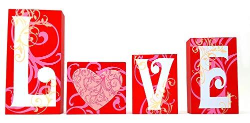 4E's Novelty Love Blocks Wooden L O V E Words Valentine's Day Decor V-Day Gift Table Top -