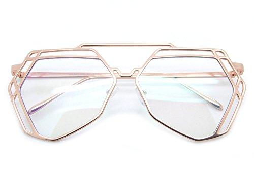 Futuristic Designer Aviator Eyeglasses Metal Frame Clear Lens Women - Shields Side Wayfarer