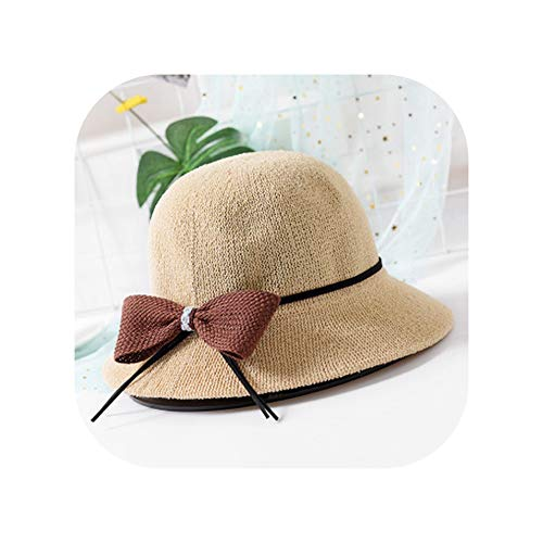 Women Bow Tie Solid Color Sun Hats Summer Lovely Lace Ear Straw Hat Embroidery Beach Bucket,5 ()