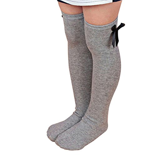 Sagton Kids Sweet Princess Bowknot Striped Boot Socks Winter Knee High Warm Socks Leg Warmer (Gray)