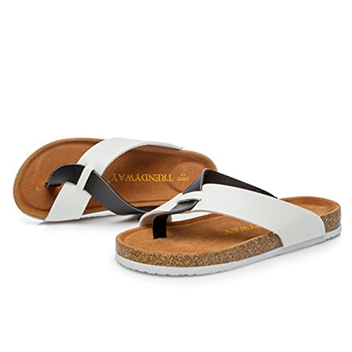ZKOO Mujeres Sandalias de Dedo Verano Zapatillas de Playa Vendaje Punta Abierta Sandalias Planas Zapato Acogedor Blanco Negro