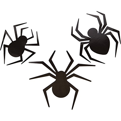 Creative Converting 9 Count Spiders Paper Cutout Assortment, Black -