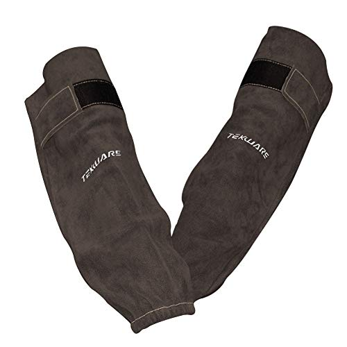 Tekware Adjustable and Comfortable Premium Cowhide Leather Welding Sleeves Flame Heat Resistant Arms and Hands Protectors With Elastic Cuff For Welders ()