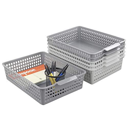 Yubine Plastic Storage Organization Trays Baskets, 6-Pack