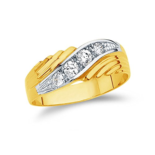 Size 11 - Jewel Tie Mens Solid 14K Two Tone Yellow and White Gold Wedding Band Cubic Zirconia CZ