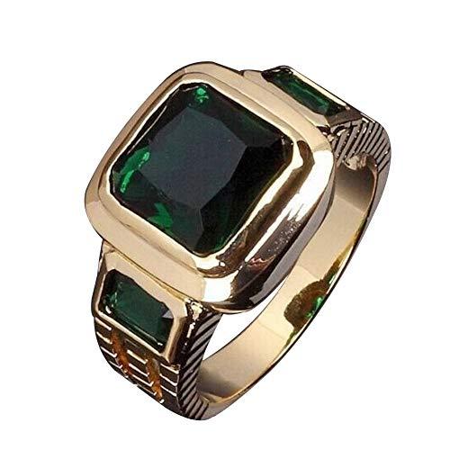 lEIsr00y Fashion Square Shape Faux Gemstone Men's Wedding Birthday Band Jewelry Ring - Green US 13
