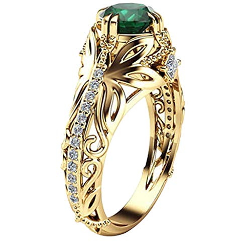 Kintaz Women's Engagement Wedding Ring European and American Fashion Luxury Simulation Green Diamonds Jewelry (6, Gold)