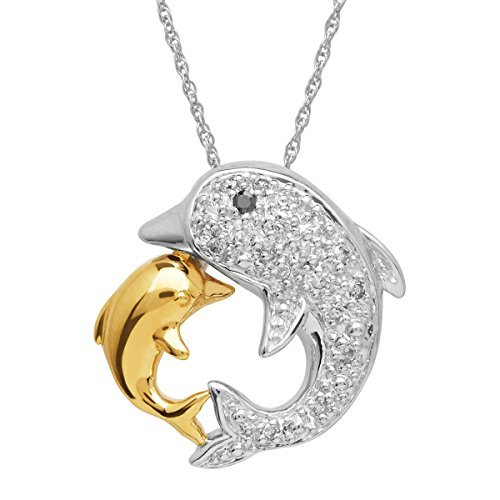 - Mother's Jewel Dolphin Pendant Necklace with Diamonds in 14K Gold-Plated Sterling Silver