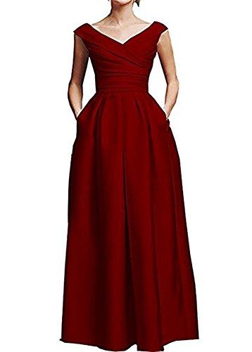 FOLOBE con cuello en V con volantes de la madre del vestido de novia de satén formal vestido de noche largo Rojo