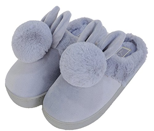Blubi Mujeres Plush Closed Toe Bunny Zapatillas Cute House Zapatillas Cute Zapatillas Gris
