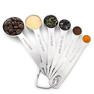 1Easylife H742 Stainless Steel Measuring Spoons, Set of 6 for Measuring Dry and Liquid Ingredients