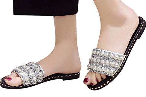 Fainosmny Summer Slippers Flat Beach Shoes Fashion Sandals for Women Pearl Sequins Flats Non-Slip Sandals Flip Flops White