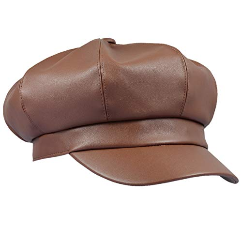 moonsix Newsboy Hat,Plain Cabbie Visor Beret Gatsby Ivy Caps for Women,Brown(PU Leather Style 2)