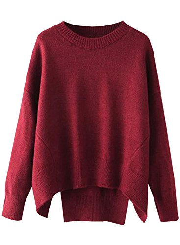 Futurino Women's Crew Neck Solid Long Drop Sleeves Loose Knit Pullover (Chunky Pullover)