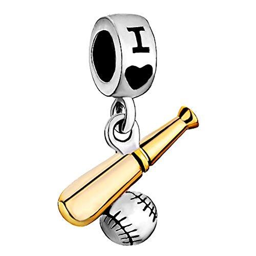 Q&Locket I Love Baseball Sport Charms Two Tone Dangle Bead For Bracelet (Sport Charm Baseball)