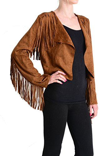Fornia Women's Faux Suede Fringe Jacket in Tobacco, Medium/Large - Suede Fringe Jacket