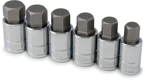Titan Tools 16156 SAE Large Hex Bit Socket Set – 6 Piece Bit Socket Set 6 Piece