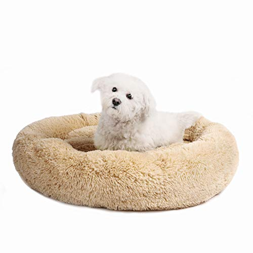 Veehoo Self-Warming Round Dog Bed for Medium Dogs & Cats, Luxurious Faux Fur Donut Cuddler, Bolster Pet Bed & Sofa, Extra Plush Dog Pillow & Couch, Machine Washable, - Dog Beds Soft Comfortable