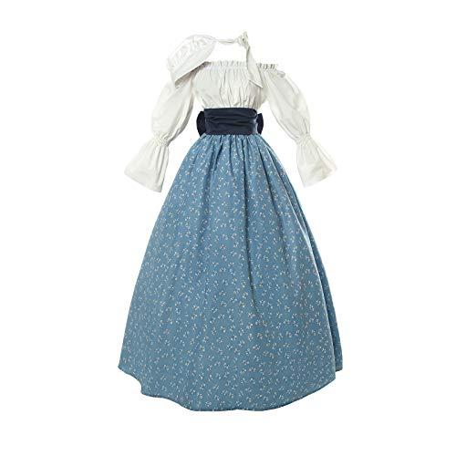 (NSPSTT Women Colonial Prairie Pioneer Dress Costume Civil War Trek Blouse Skirt Suit Set with Bonnet)