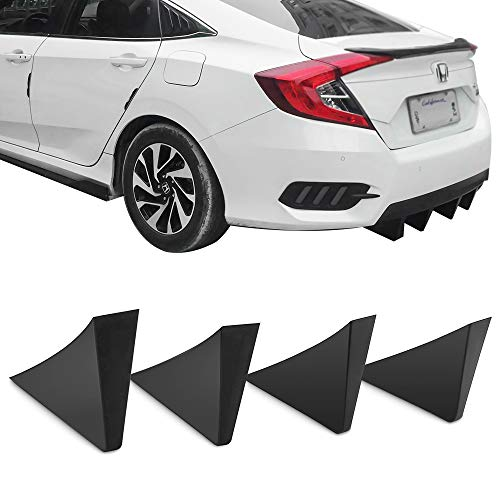 Rear Diffuser Fins Universal Fitment | Unpainted Black ABS Plastic Splitter Spoiler Valance Under Lip Body kit by IKON MOTORSPORTS