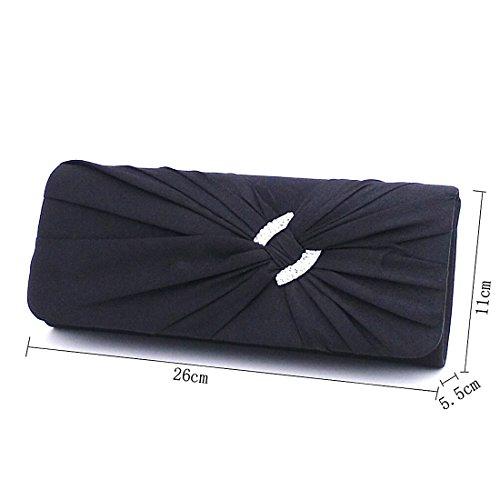 Rhinestone with Pleated Evening Satin Purse Wedding Blue Dark Handbag Clutch for Women Bridal zvCqxWzrOw