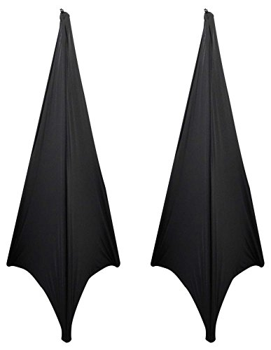 (2) Rockville RSC7B Black Tripod PA Speaker Stand Scrims Cloth 360 Degree Cover by Rockville