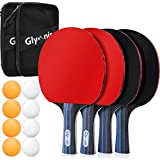 Glymnis Ping Pong Paddles Set of 4 Premium Rackets Table Tennis Set with 8 Professional Game Balls and Portable Cover Case Bag