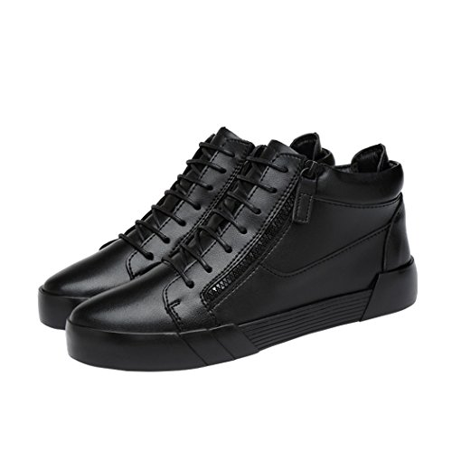 Sun Lorence Mens Spring & Autumn Fashion High Top Shoes Side Zipper Lace-up Leather British Sneaker fVvm0