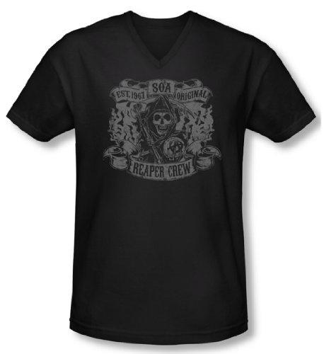 Sons Of Anarchy Shirt Slim Fit V Neck Original Reaper Crew Black Tee (Large)