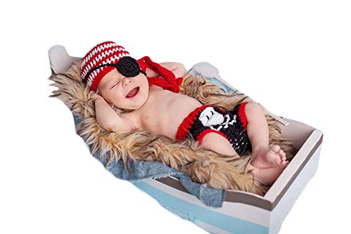 (3PCS Infant Newborn Baby Boy Costume Outfits Photography Props Pirates of The Caribbean Hat+Glasses+Pant 0-6)