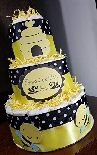 3 Tier Diaper Cake - Sweet as Can Bee Bumble Bee Theme Diaper Cake - Baby Shower Centerpiece]()