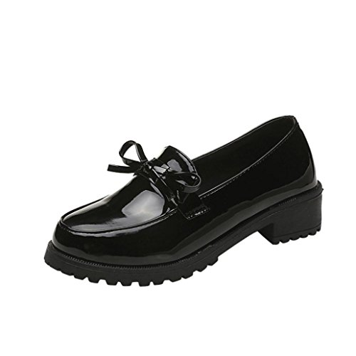 Women Loafer, SUKEQ Women's Patent Leather Slip On Oxfords Shoes Flat Low...