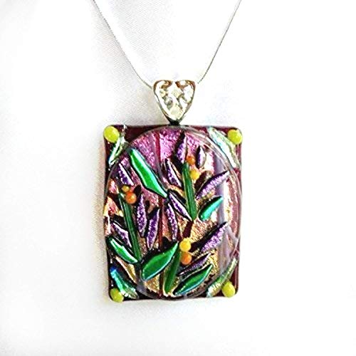 (PLUM GARDEN Purple Flower Dichroic Fused Glass Jewelry Pendant with Necklace)