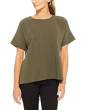French Connection Women's Short Sleeve Rib Danni Tee, Green (Khaki), X-Small
