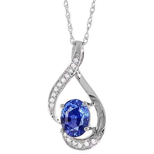 Natural Blue Sapphire Pendant - 14K White Gold 0.07 cttw Diamond Natural Blue Sapphire Pendant Oval 7x5 mm, 3/4 inch long
