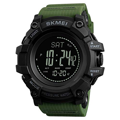 IF.HLMF Men's Electronic Watch Black Military Chronograph Waterproof Sports Watch Outdoor Multi-Function Date Compass
