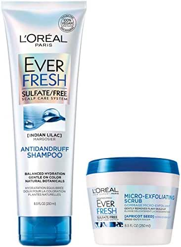 L'Oréal Paris Hair Care EverFresh Sulfate Free Anti Dandruff Shampoo & Micro-Exfoliating Scrub Kit, With Indian Lilac, For Dandruff & Removing Build Up (8.5 Fl. Oz each)
