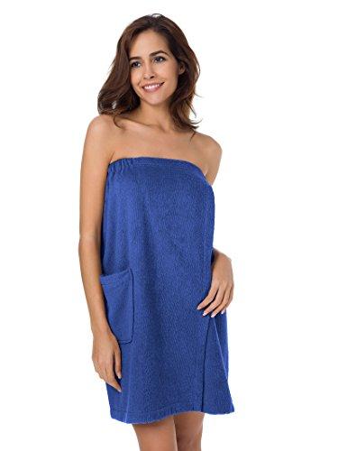 SIORO Spa Bath Wrap Cotton Shower Spa Wrap Robe Magic Stickers Bath Towel Wrap for Women Pools Gyms Beaches Locker Rooms Bathroom Royal Blue M ()